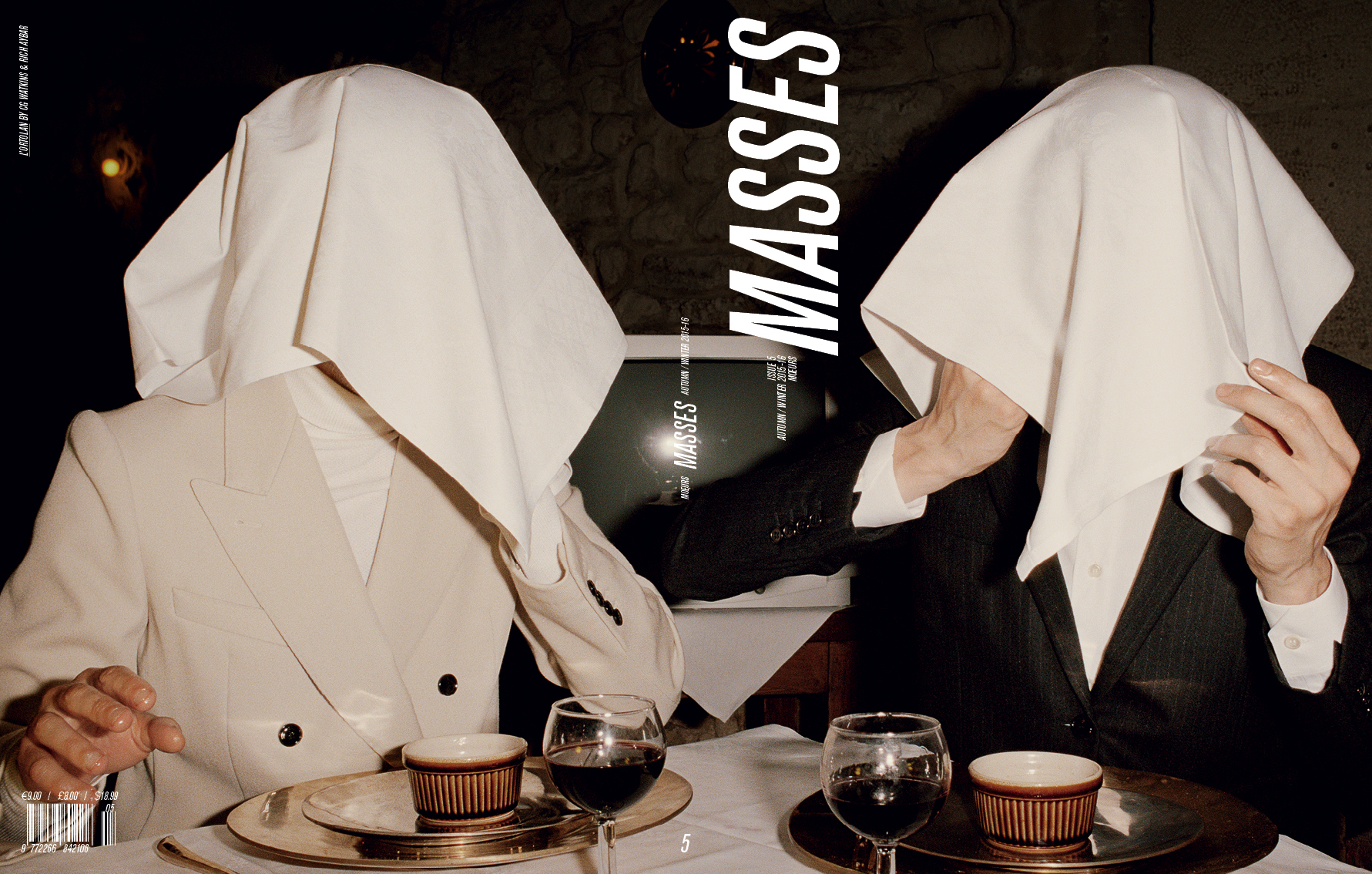 MASSES MAGAZINE ISSUE 5 COVER – L'ORTOLAN, ERIC DIULEIN AND SACHA QUINTIN BY CG WATKINS, FASHION BY RICH AYBAR, FEATURING ERIC DIULEIN