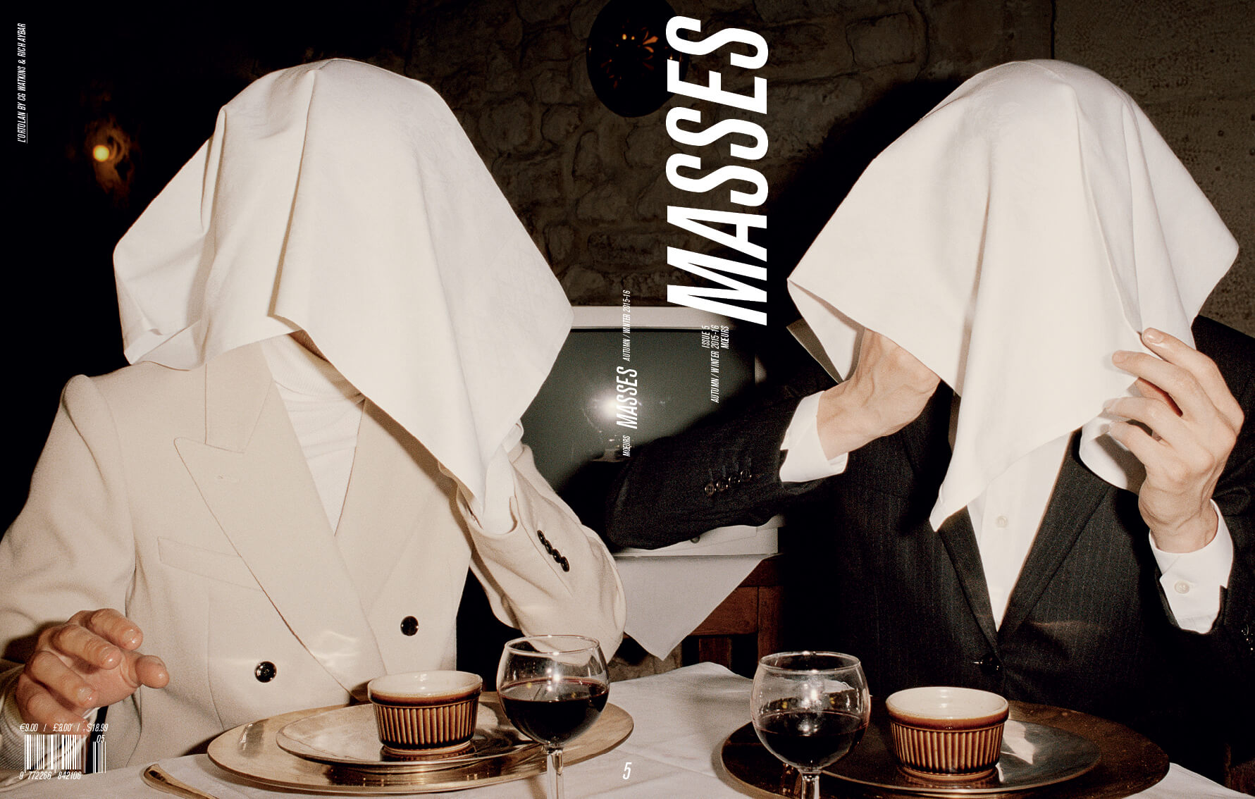 MASSES MAGAZINE ISSUE 5 COVER – L'ORTOLAN, ERIC DIULEIN AND SACHA QUINTIN PHOTOGRAPHED BY CG WATKINS, FASHION BY RICH AYBAR